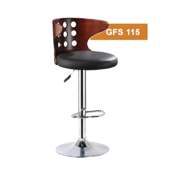 Wooden Curved Bar Stool